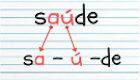 Exemplos de separação de sílabas de palavra com hiato