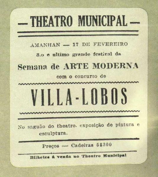 Anúncio de um dos festivais da Semana de Arte Moderna de 1922.