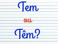 Folha de caderno com as formas do verbo ter escritas