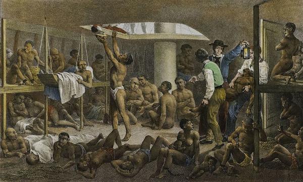 """""""Navio negreiro"""", pintado por Rugendas."""