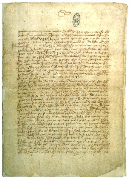 """""""Fac-símile"""" de uma das páginas da carta original de Pero Vaz de Caminha."""