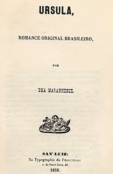 Folha de rosto da primeira edição do romance Úrsula, publicado em 1859, principal obra literária de Maria Firmina dos Reis.