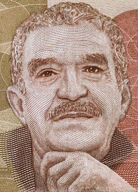 Desenho retratando Gabriel García Marquez originalmente impresso em cédulas de pesos colombianos.