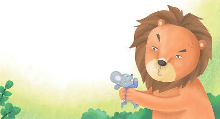 desenho de um leão  segurando rato