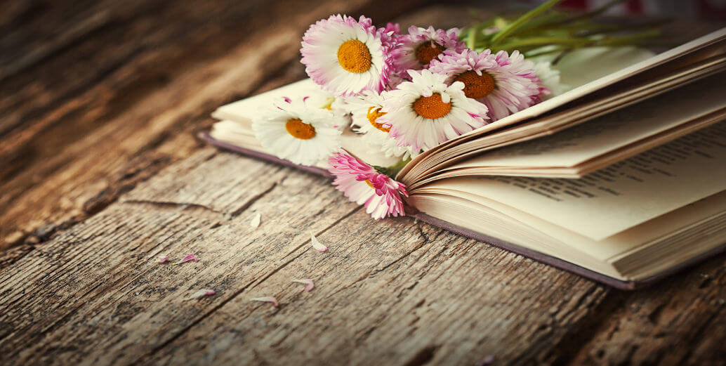 Livro com flores no meio