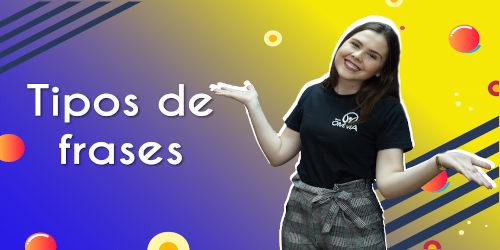 Thumbnail com a professora da videoaula sobre tipos de frases