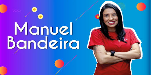 Thumbnail com o professora da videoaula sobre Manuel Bandeira