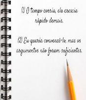 caderno com duas orações escritas