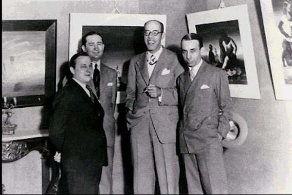 Mário de Andrade (de óculos), em companhia de Candido Portinari, Antonio Bento e Rodrigo Melo Franco, em 1936.