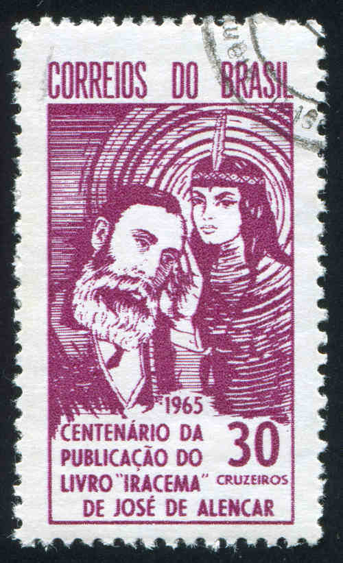 """Selo em homenagem ao centenário da publicação do romance """"Iracema"""", de José de Alencar.[1]"""