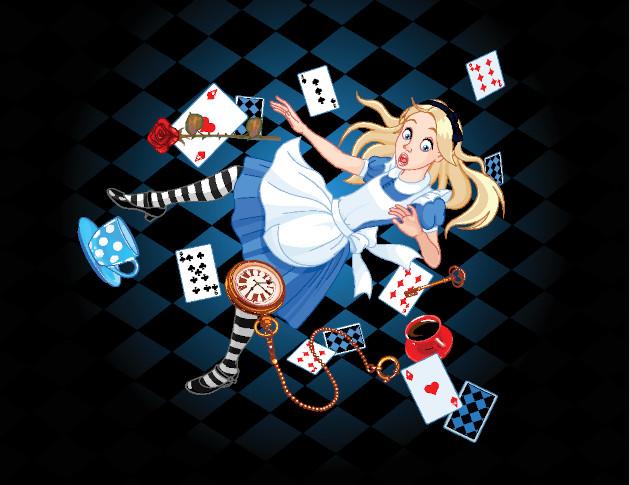 Ilustração de Alice caindo no buraco que a levará para um universo fantástico.