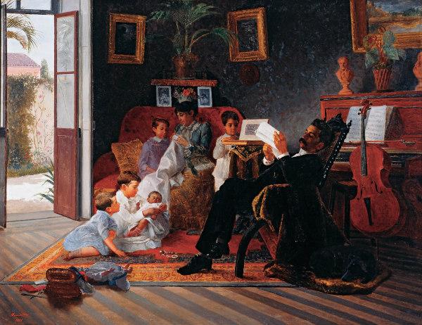 Cena de família de Adolfo Augusto Pinto, obra do pintor realista Almeida Júnior (1850-1899).