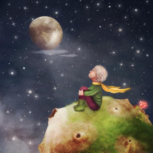 Ilustração representando o Pequeno Príncipe.