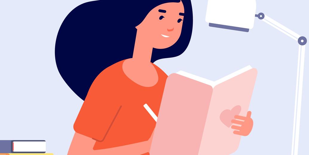 ilustração de menina lendo e escrevendo