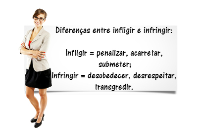Duas palavras parecidas, mas semanticamente divergentes: infligir e infringir. Ambas são verbos e devem ter suas situações de uso bem observadas