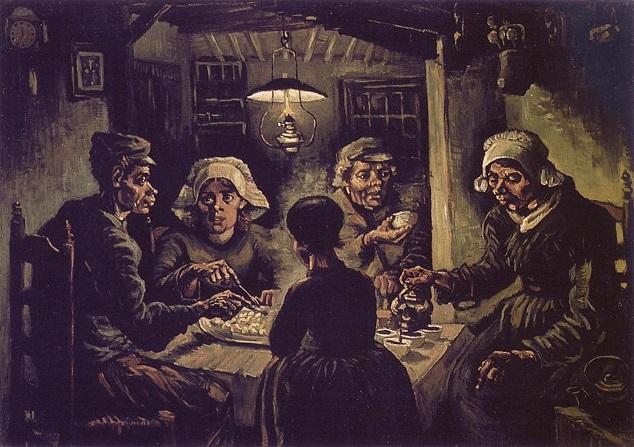 Exemplo do Naturalismo na pintura: a obra Os comedores de batatas, de Van Gogh, retrata a miséria e a desesperança de uma família de camponeses
