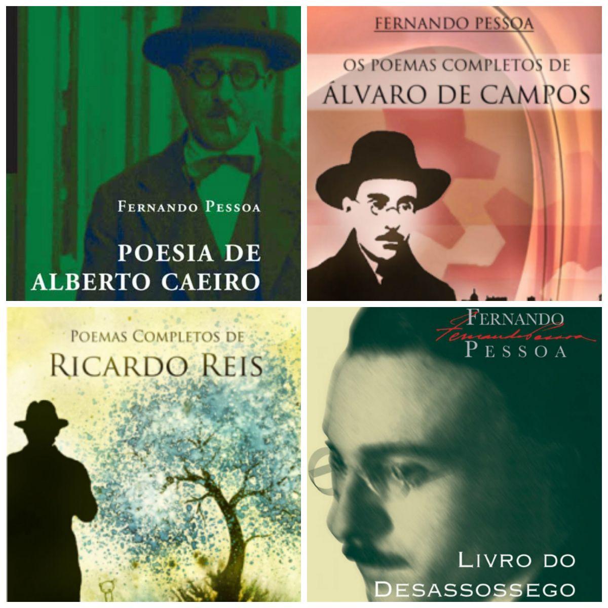 Alberto Caeiro, Álvaro de Campos e Ricardo Reis estão entre os heterônimos de Pessoa. O Livro do desassossego é assinado por Bernardo Soares
