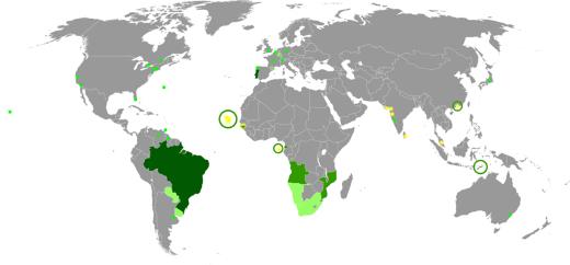 Mundo Lusofono Mapa Do Mundo Lusofono Portugues