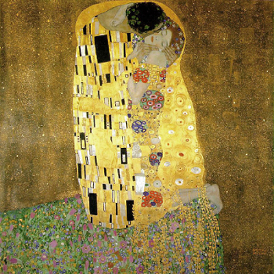 """Der Kuss (O beijo) foi pintado pelo pintor austríaco Gustav Klimt entre os anos de 1907 e 1908. Representa o """"Período de Ouro"""" do artista"""